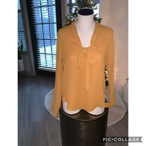Mustard Blouse with neck tie
